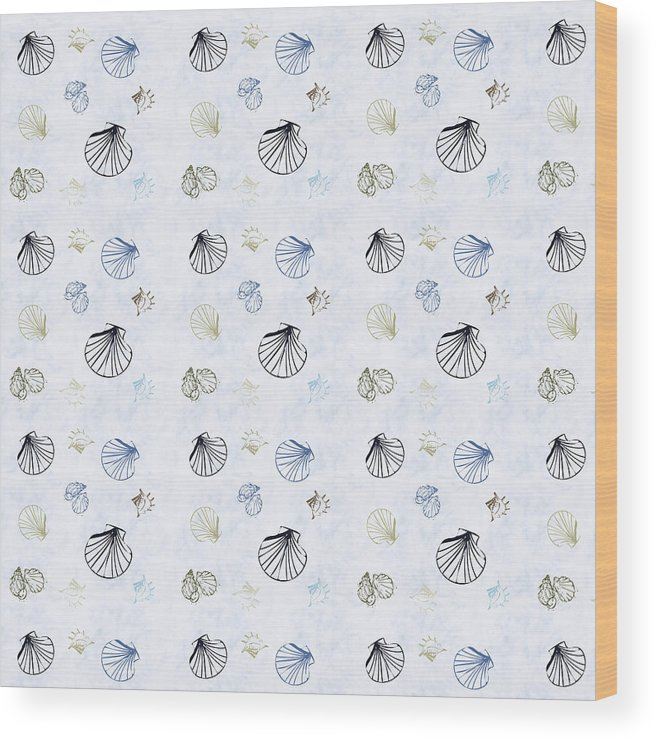 Seashell Wood Print featuring the mixed media Seashell Pattern by Christina Rollo
