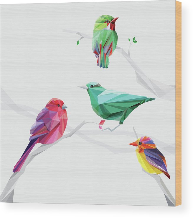 Funky Wood Print featuring the digital art Set Of Abstract Geometric Colorful Birds by Pika111