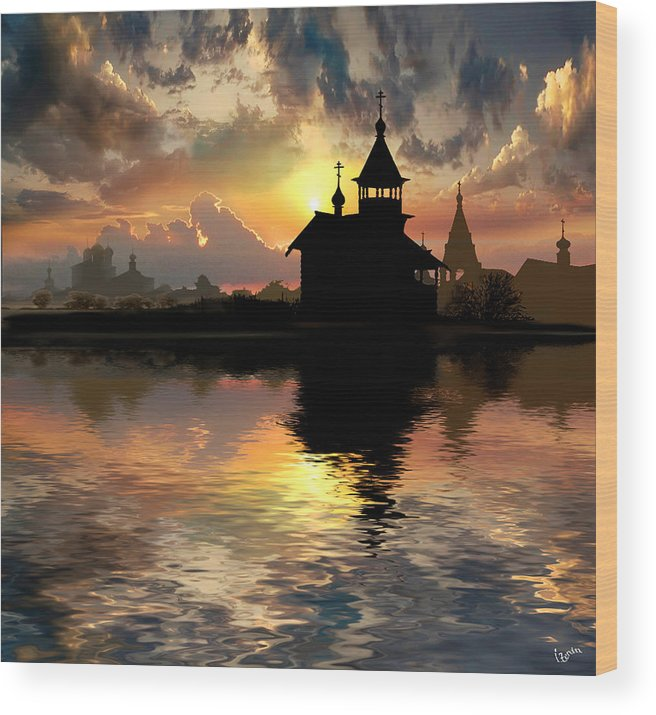Water Wood Print featuring the photograph Silhouettes of the Christianity by Igor Zenin