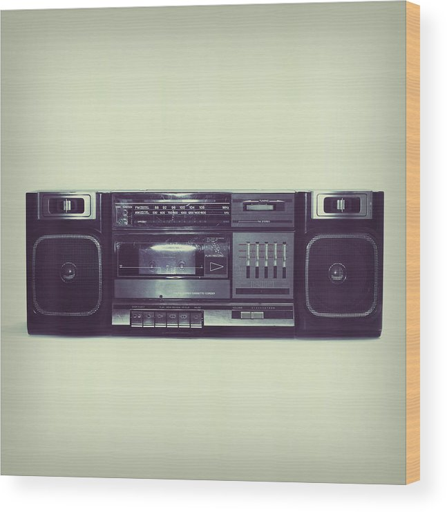 Cool Attitude Wood Print featuring the photograph Soft Black Boombox Centered With White by Sjharmon