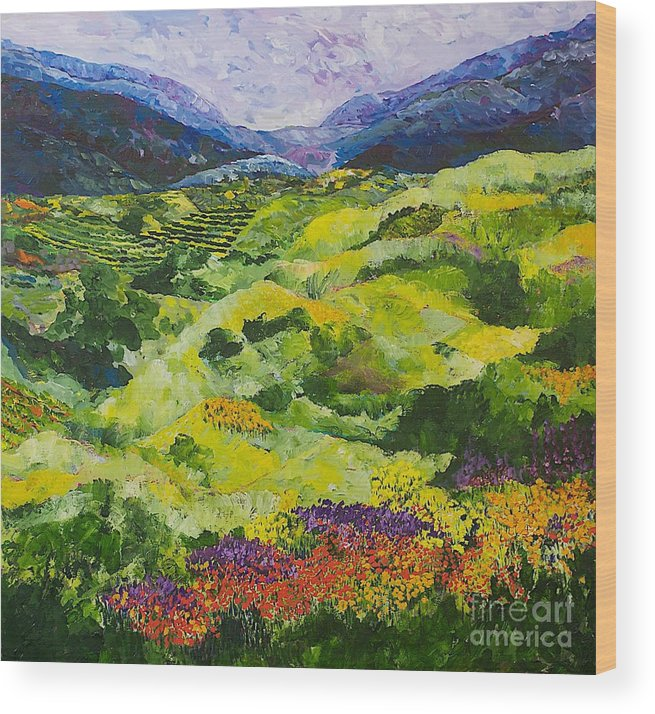 Landscape Wood Print featuring the painting Soft Grass by Allan P Friedlander