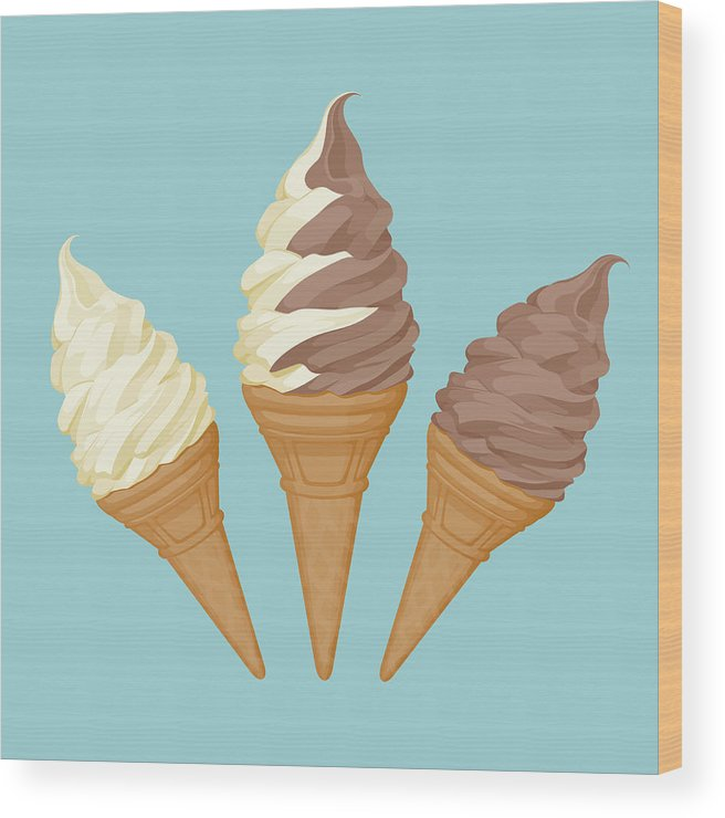Vanilla Wood Print featuring the digital art Soft Ice Cream Cone by Saemilee