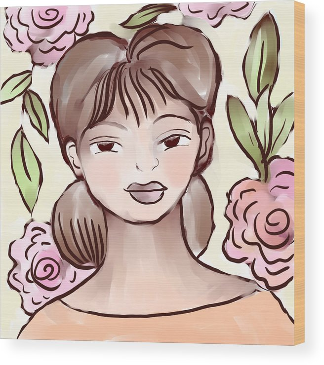 Figurative Wood Print featuring the digital art Soft Smile by Elaine Jackson