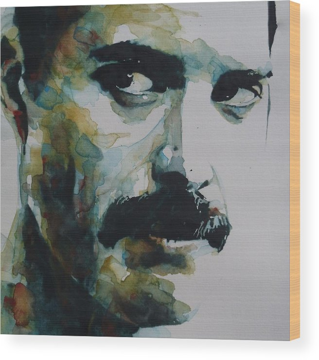 Queen Wood Print featuring the painting Freddie Mercury by Paul Lovering