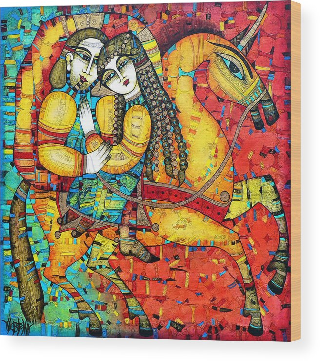 Albena Wood Print featuring the painting SONATA for two and unicorn by Albena Vatcheva