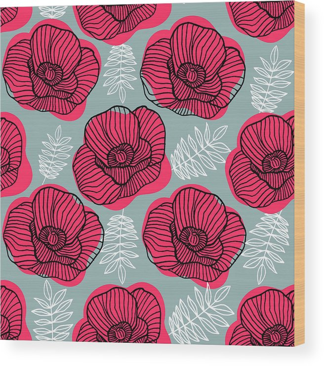 Flowerbed Wood Print featuring the digital art Spring Bright Seamless Floral Pattern by Ekaterina Bedoeva