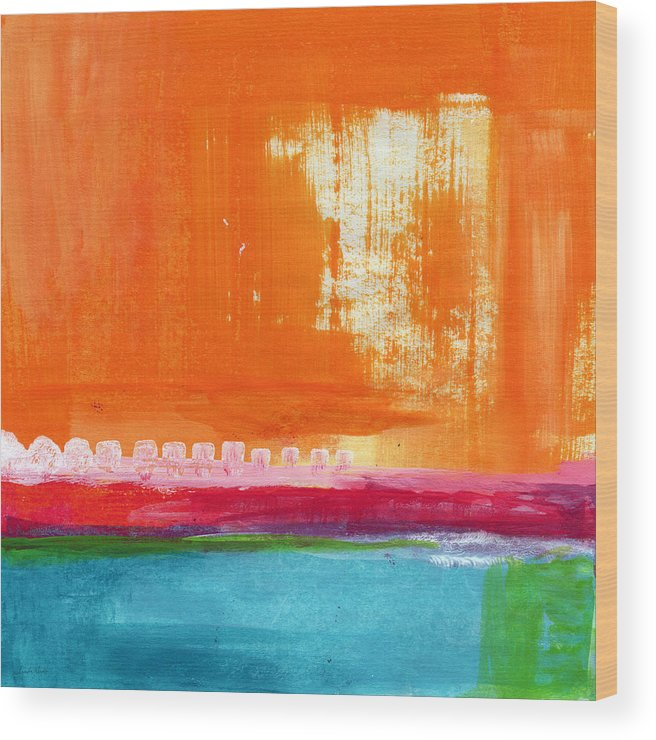 Orange Abstract Art Wood Print featuring the painting Summer Picnic- colorful abstract art by Linda Woods