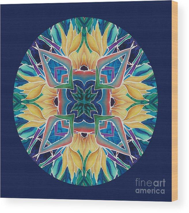 Mandala Wood Print featuring the painting Sunflower Mandala by Francine Dufour Jones