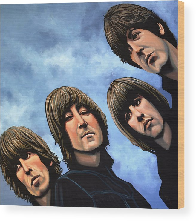 The Beatles Wood Print featuring the painting The Beatles Rubber Soul by Paul Meijering