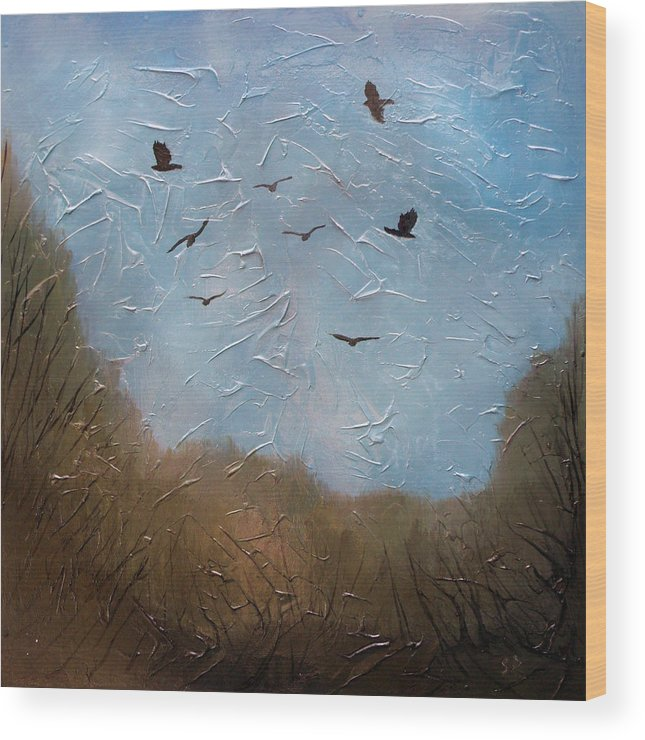 Landscape Wood Print featuring the painting The crows by Sergey Bezhinets