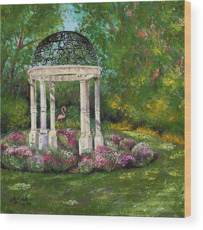 Garden Wood Print featuring the painting The Governor's Gazebo by Margaret Bobb