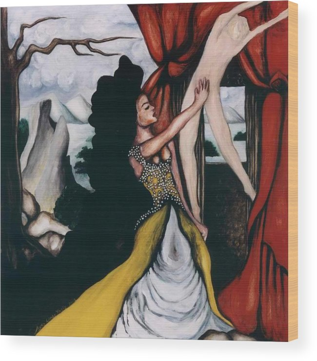 To Have And To Hold Wood Print featuring the painting To Have and To Hold  Mourning the Loss of a Lover by Ayka Yasis