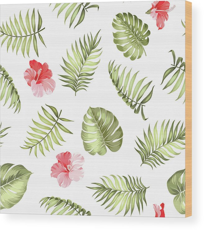 Tropical Rainforest Wood Print featuring the digital art Topical Palm Leaves Pattern by Kotkoa