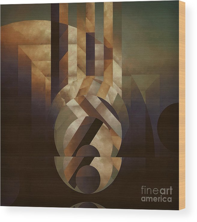 Abstract Wood Print featuring the painting Tremulous Sphere by Lonnie Christopher