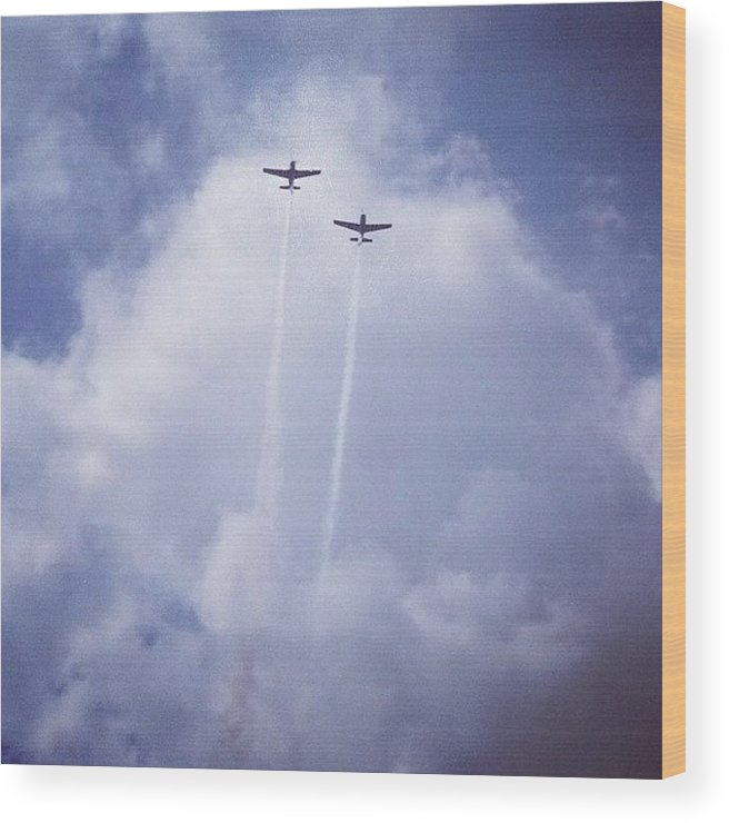 Wwii Wood Print featuring the photograph Two Airplanes Flying by Christy Beckwith