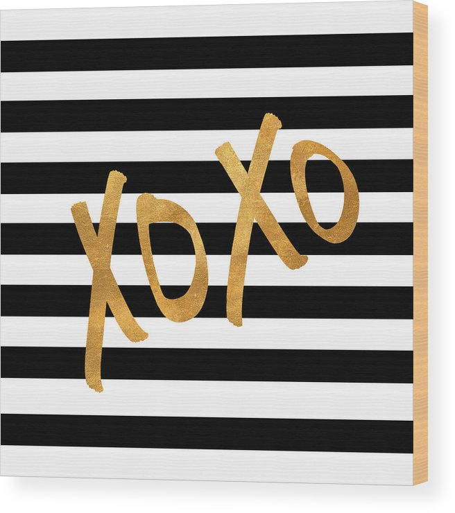 Valentines Wood Print featuring the digital art Valentines Stripes IIi by South Social Studio