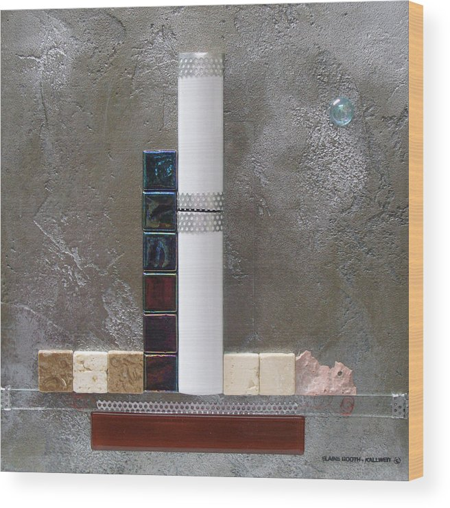 Assemblage Wood Print featuring the relief White Tower by Elaine Booth-Kallweit