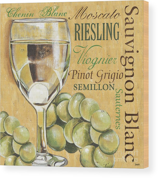 Wine Wood Print featuring the painting White Wine Text by Debbie DeWitt
