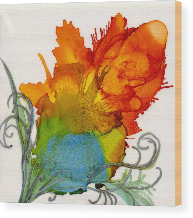 Alcohol Ink Wood Print featuring the painting Wild Child by Francine Dufour Jones