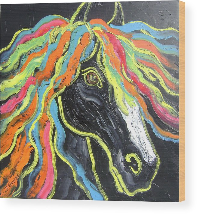 Isabelle Wood Print featuring the painting Wild horse by Isabelle Gervais