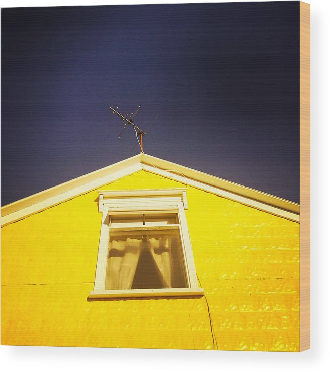 Yellow Wood Print featuring the photograph Yellow house in Akureyri Iceland by Matthias Hauser