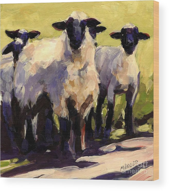 Sheep Wood Print featuring the painting You First by Molly Poole