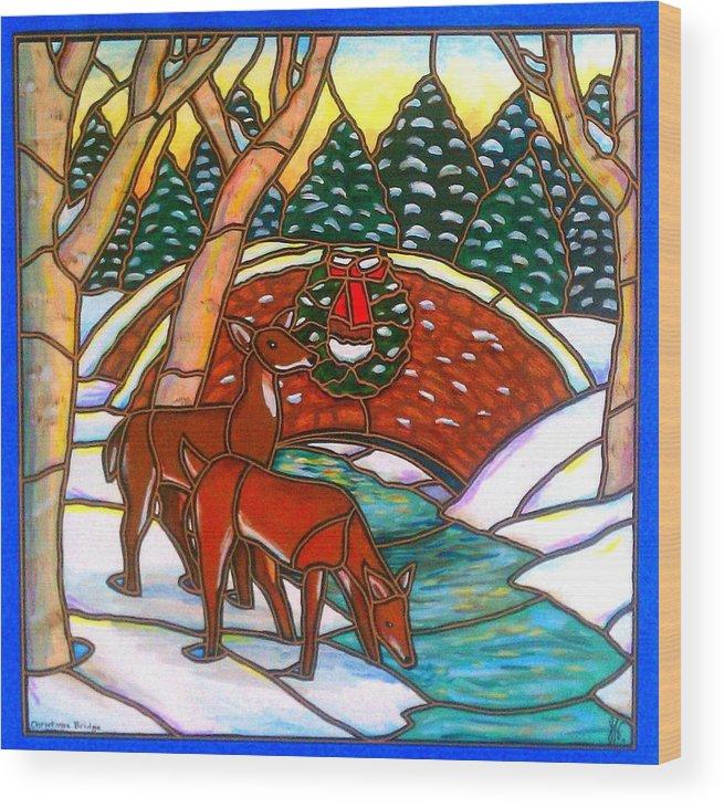 Christmas Wood Print featuring the painting Christmas Bridge by Jim Harris