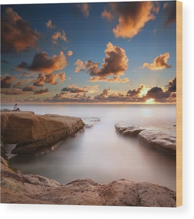 Wood Print featuring the photograph Long Exposure Sunset At A San Diego by Larry Marshall