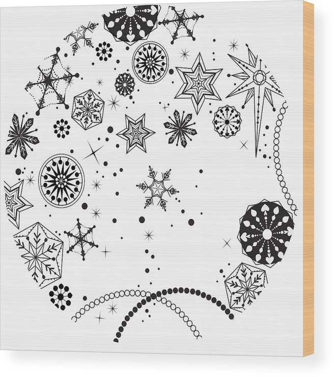 Square Wood Print featuring the digital art Various Plants Patterns by Eastnine Inc.