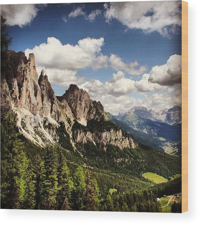 Mountain Wood Print featuring the photograph Dolomites by Luisa Azzolini