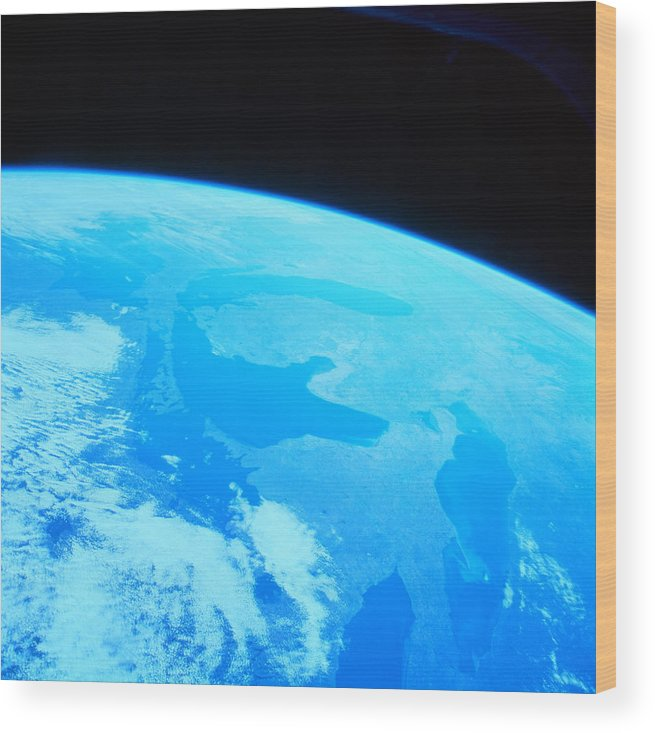 Square Wood Print featuring the photograph Earth Viewed From A Satellite by Stockbyte