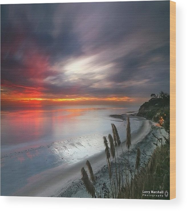 Wood Print featuring the photograph Long Exposure Sunset At A North San by Larry Marshall