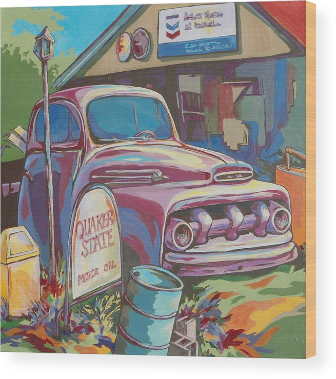Car Wood Print featuring the painting Heart of a Lion by Sandy Tracey