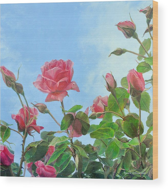 Acrylic Painting Wood Print featuring the painting Jardin Dior by Muriel Dolemieux