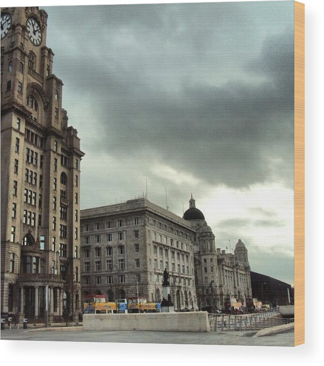 Buildings Wood Print featuring the photograph #liverpool #sky #clouds #buildings by Abdelrahman Alawwad