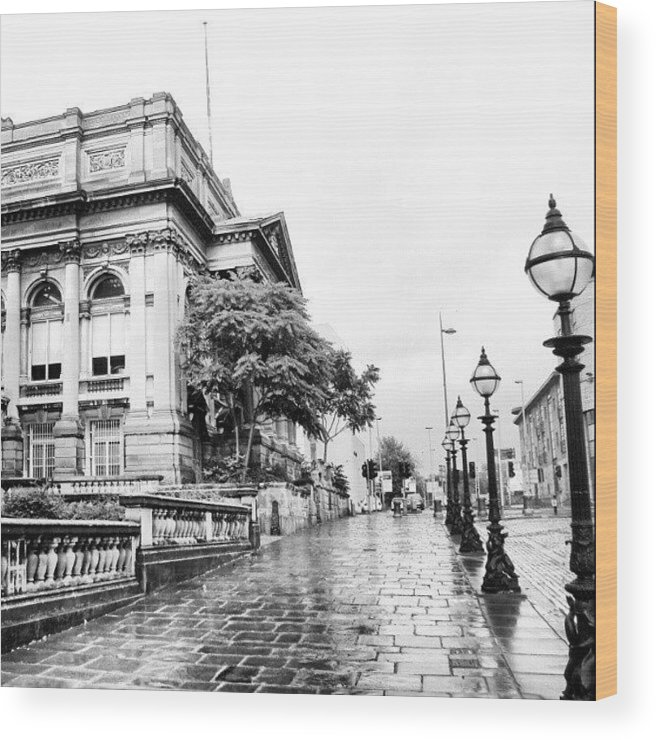 England Wood Print featuring the photograph #liverpool #uk #england #rainy #rain by Abdelrahman Alawwad