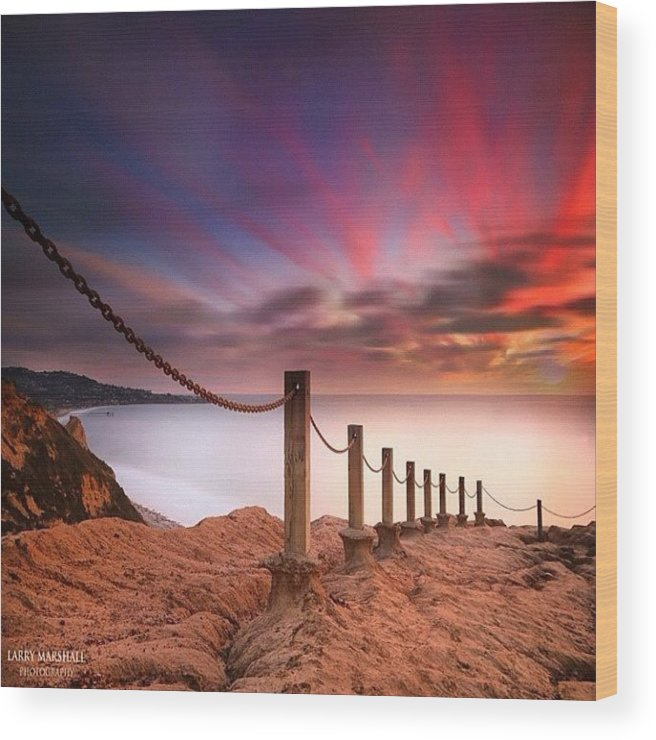 Wood Print featuring the photograph Long Exposure Sunset Shot From The by Larry Marshall