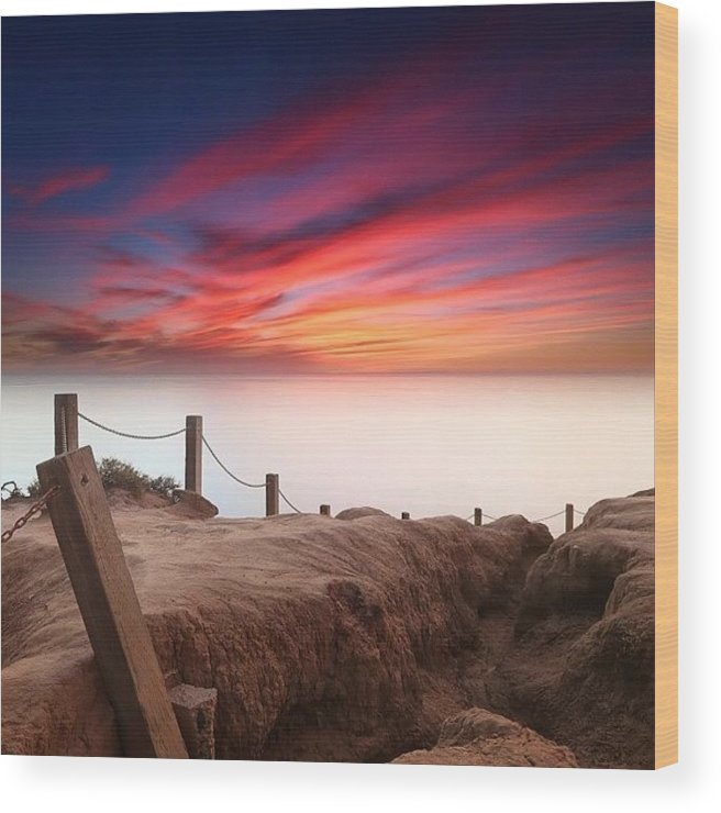Wood Print featuring the photograph Long Exposure Sunset Taken From The by Larry Marshall