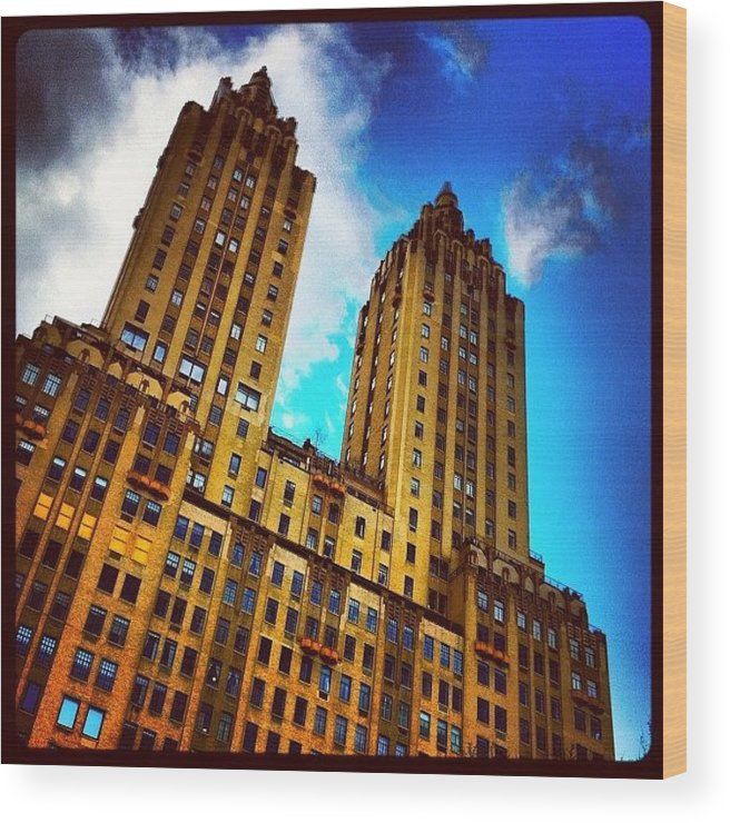 Building Wood Print featuring the photograph #nyc #clouds #centralpark #sky #building by Luke Kingma