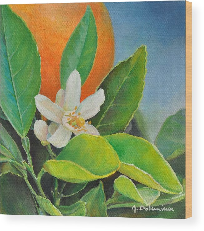 Acrylic Painting Wood Print featuring the painting Orange Posee by Muriel Dolemieux