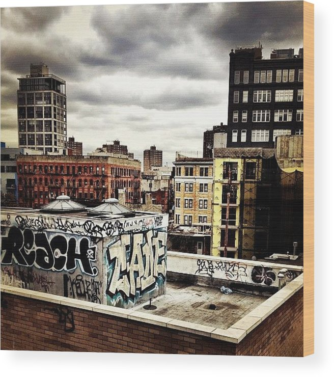 Newyorkcity Wood Print featuring the photograph Storm Clouds And Graffiti Looking Out by Vivienne Gucwa