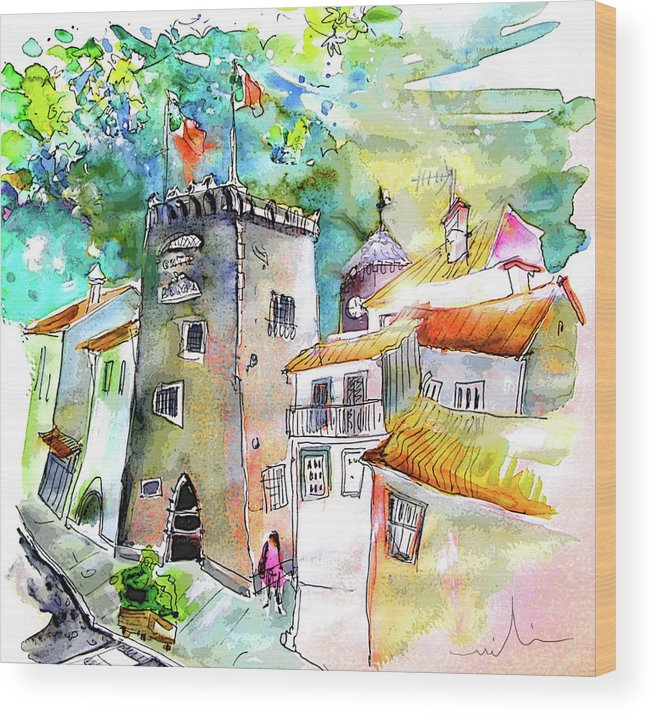Portugal Wood Print featuring the painting Tower in Ponte de Lima in Portugal by Miki De Goodaboom
