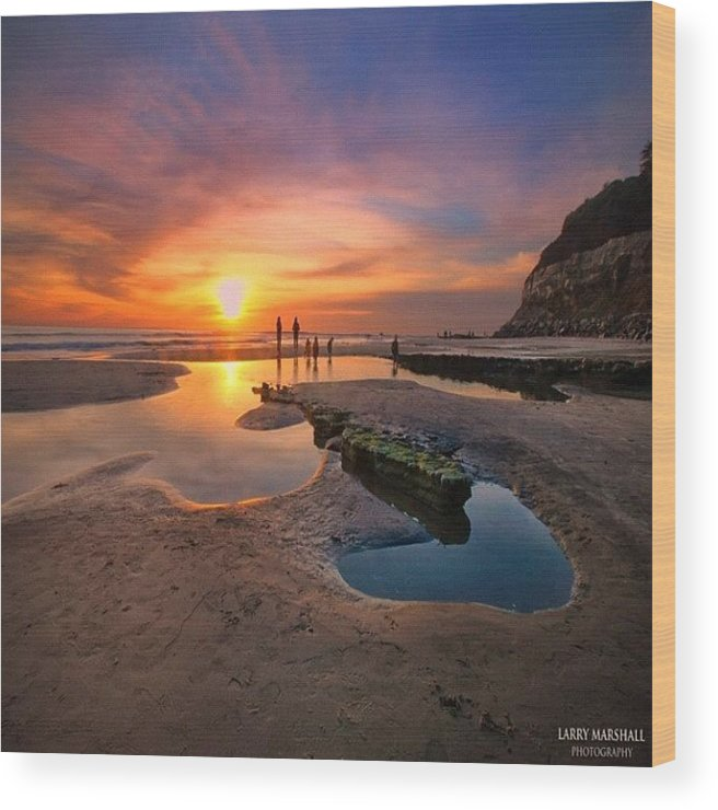 Wood Print featuring the photograph Ultra Low Tide Sunset At A North San by Larry Marshall