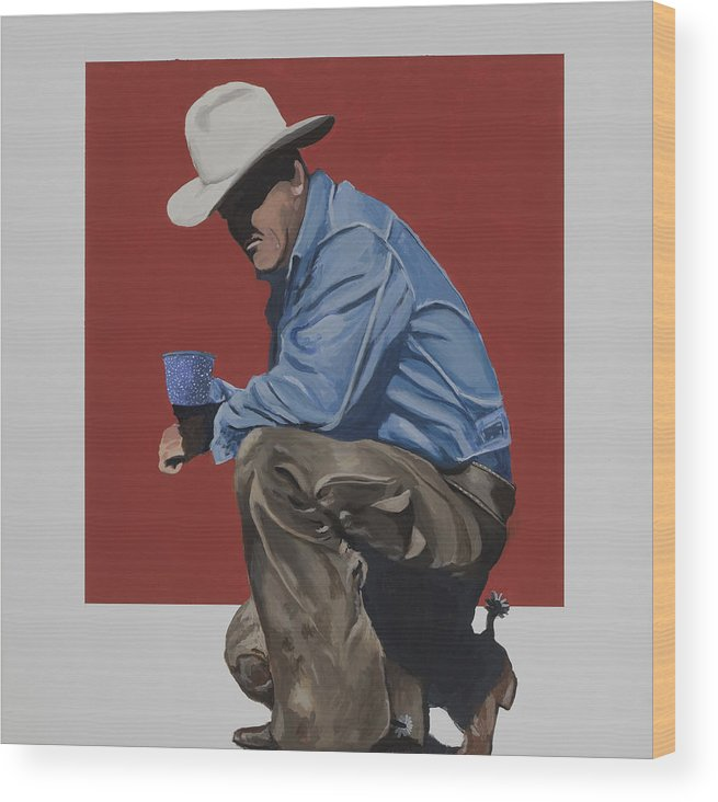 Cowboy Drinking Coffee Wood Print featuring the painting Coffee Time by Marston A Jaquis
