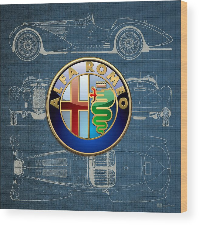 �wheels Of Fortune� By Serge Averbukh Wood Print featuring the photograph Alfa Romeo 3 D Badge over 1938 Alfa Romeo 8 C 2900 B Vintage Blueprint by Serge Averbukh