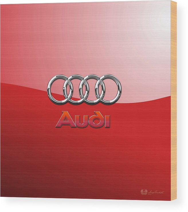 Wheels Of Fortune By Serge Averbukh Wood Print featuring the photograph Audi - 3D Badge on Red by Serge Averbukh