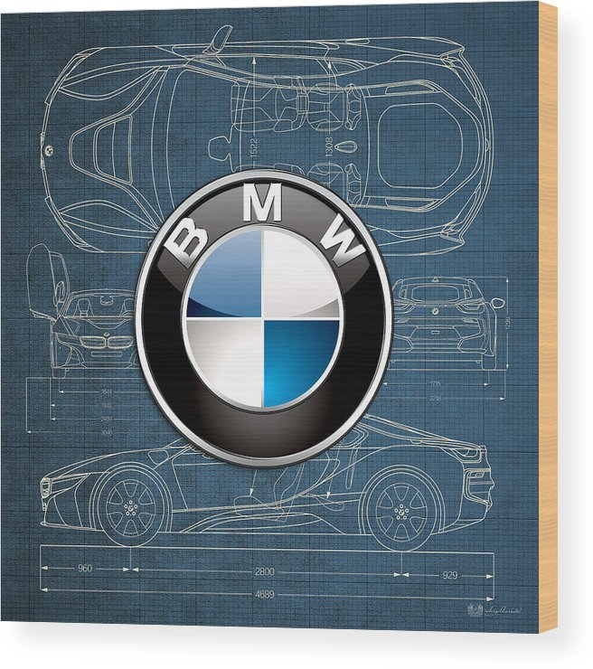 �wheels Of Fortune� By Serge Averbukh Wood Print featuring the photograph B M W 3 D Badge over B M W i8 Blueprint by Serge Averbukh