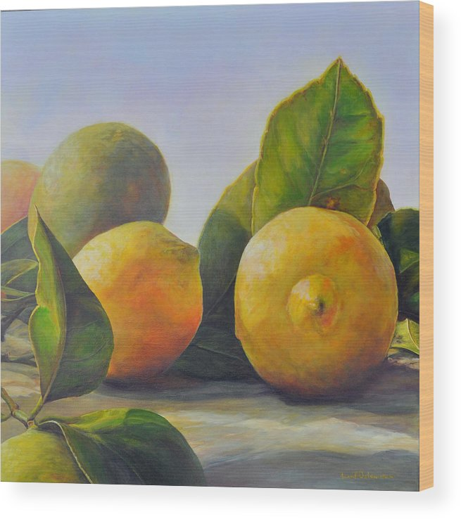 Acrylic Painting Wood Print featuring the painting Citrons by Muriel Dolemieux