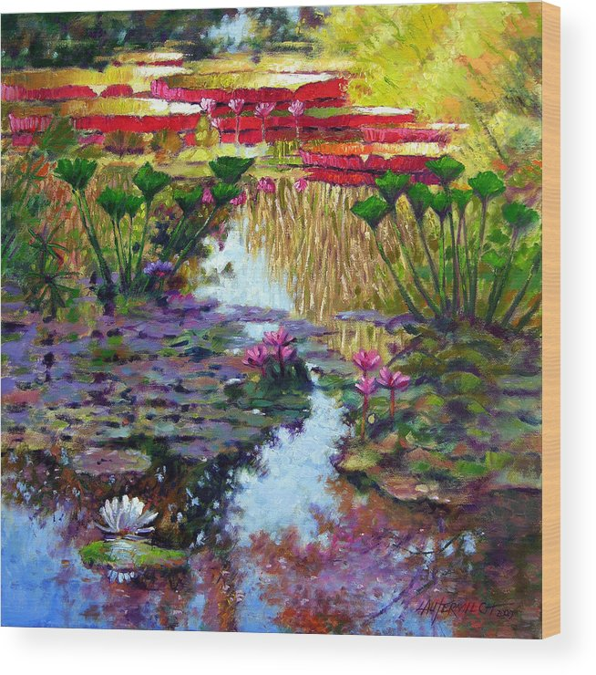 Garden Pond Wood Print featuring the painting Impressions of Summer Colors by John Lautermilch