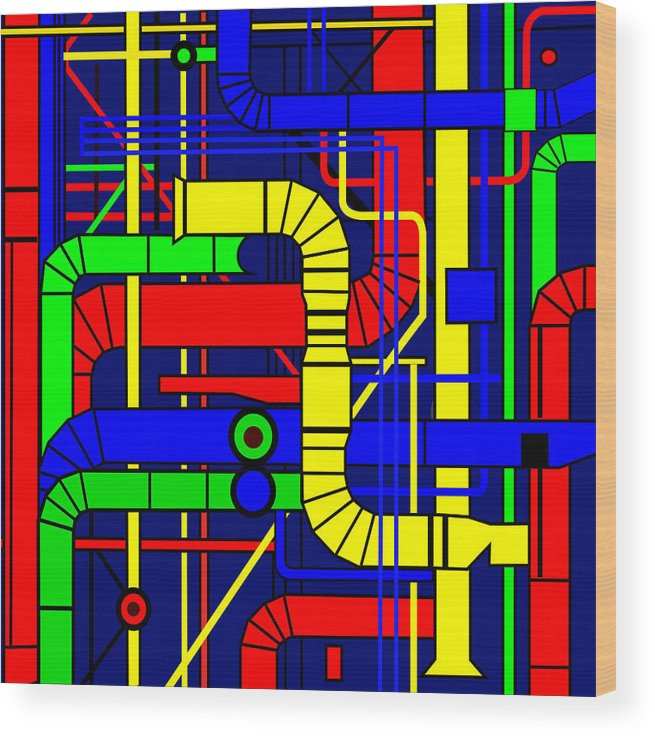 Centre Georges Pompidou Wood Print featuring the digital art Inspired by the Centre Georges Pompidou by Asbjorn Lonvig